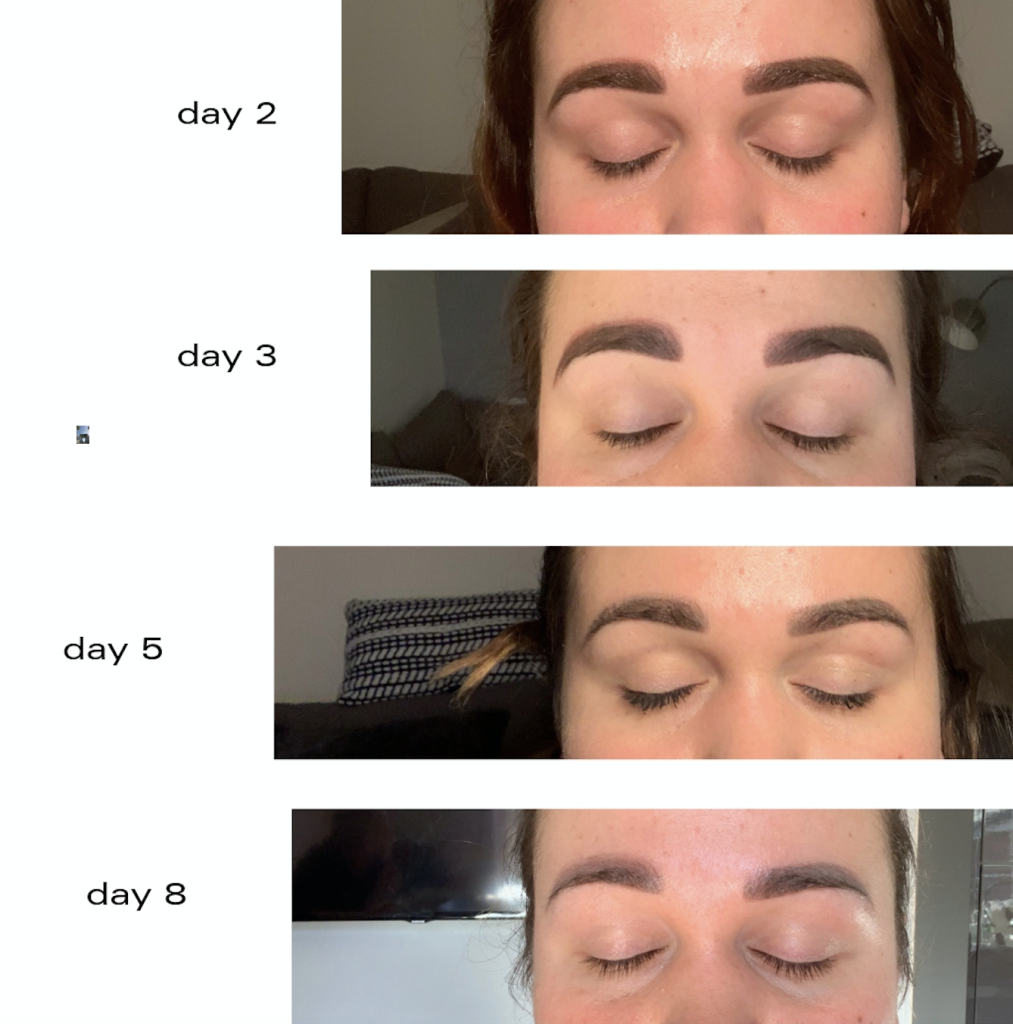 real microblading colour fade photos